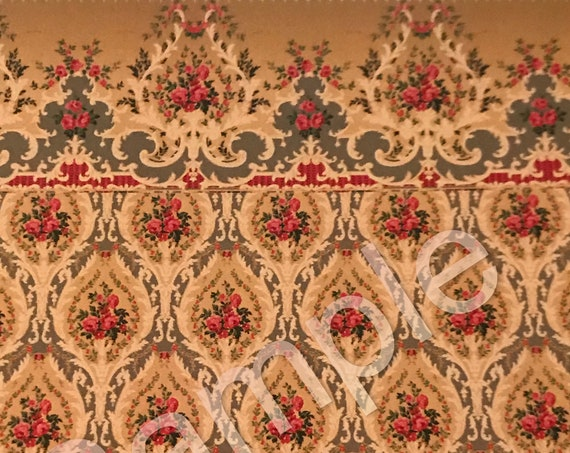 Dollhouse Miniature Wallpaper, Beatrice WITH Luxurious Border, Scale One Inch