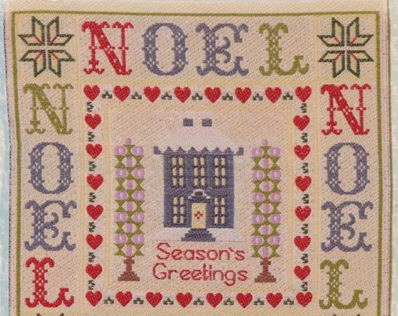 Dollhouse Miniature Noel Sampler Wall Hanging, 1:12 scale