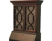 Dollhouse Miniature Furniture, French Secretaire Curio Cabinet with Drop Front Writing Desk, 1 12 scale