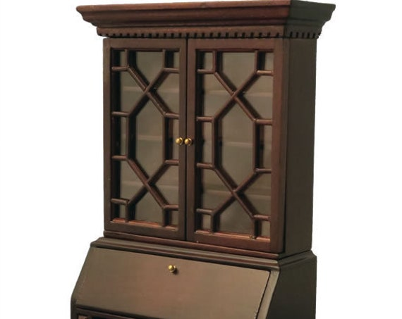 Dollhouse Miniature Furniture, French Secretaire Curio Cabinet with Drop Front Writing Desk, 1:12 scale
