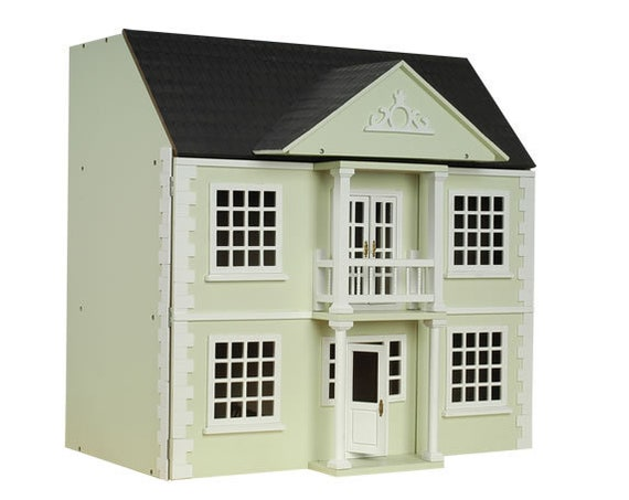 Easy Peasy Front Opening Wooden Dollhouse KIT, Khaki, 1:12 scale