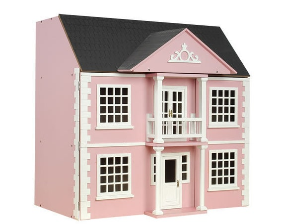 Easy Peasy Front Opening Wooden Dollhouse KIT, Pink, 1:12 scale