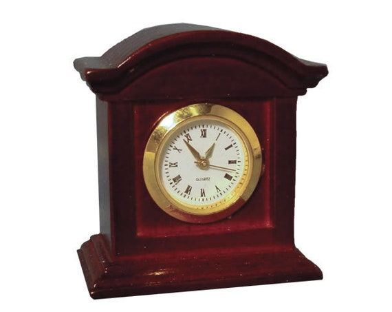 Dollhouse Miniature Mahogany Working Mantel Clock, 1:12 scale