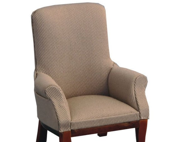 Dollhouse Miniature Upholstered Arm Chair, Fireside Chat, 1:12 scale