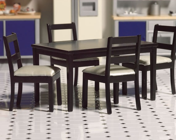 Dollhouse Miniature Furniture, Modern Classic Dining Set, 1:12 scale