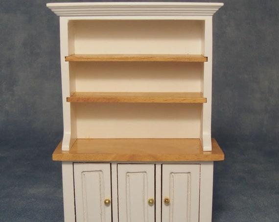 Dollhouse Miniature Farmhouse Style Furniture, White/Pine Kitchen Hutch, 12th scale