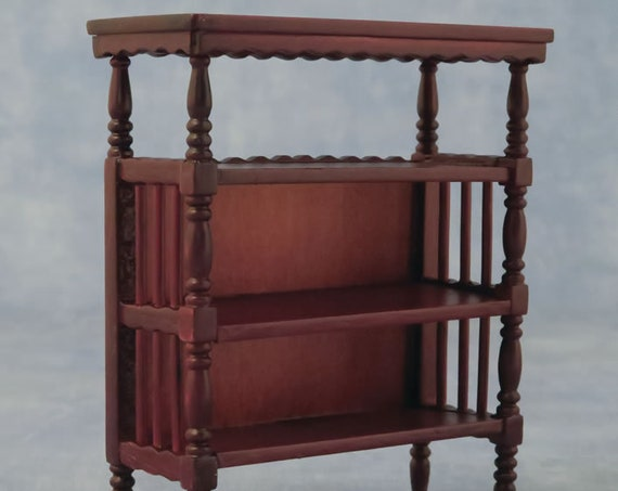 1:12 Dollhouse Miniature Furniture, Mahogany Bookcase, Display Shelf, Etagere