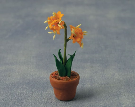 Dollhouse Miniature Flowering Plant, Orange Lilies in a Pot, 1:12 scale