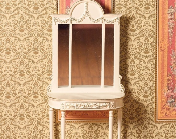Dollhouse Miniature Romantic Shabby Chic Dressing Table with Mirror, 1:12 scale