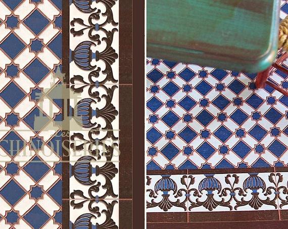 Dollhouse Miniature Wallpaper/Floor paper, Faux Tile, Guadix, 1:12 scale