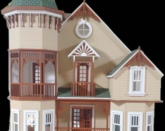 1:12 Scale Wooden Dollhouse KIT, Romantic Victorian Mansion, Scale One Inch