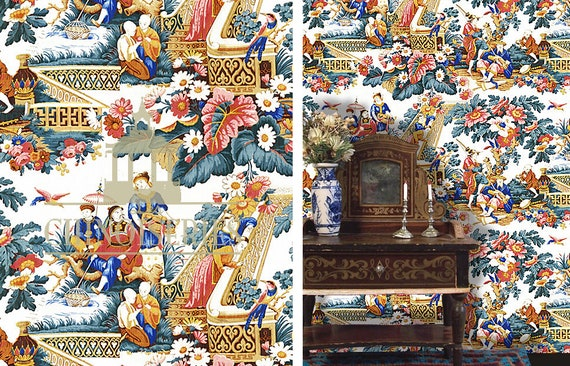 Dollhouse Miniature Wallpaper, Chinoiserie in Bloom, 1:12 Scale