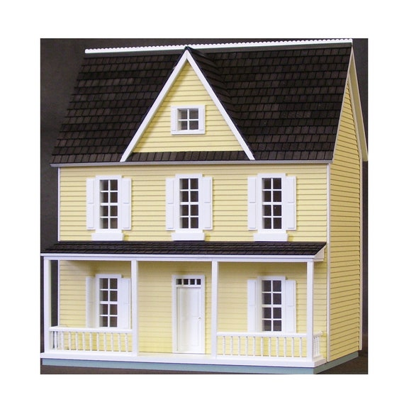 1:24 Wooden Dollhouse Kit, Charming Farmhouse, Auntie Em, Half Inch Scale, FREE USA SHIPPING