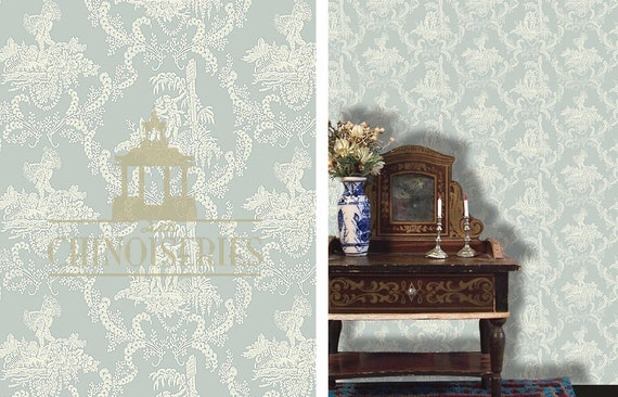 Dollhouse Miniature Wallpaper, Wedgwood, Scale One Inch