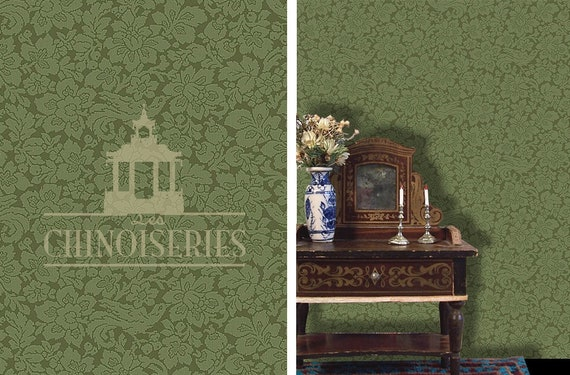 Dollhouse Miniature Wallpaper, Verde,  Scale One Inch