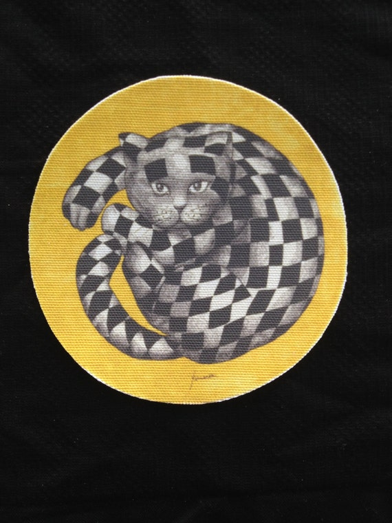 """Dollhouse Miniature """"The Cheshire, Hi-Fidelity Cat"""" Rug, Scale One Inch"""