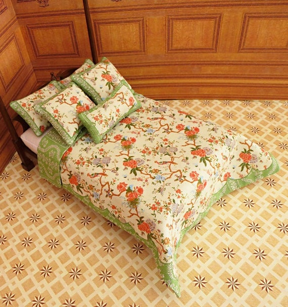 Dollhouse Miniature Double Bedding KIT, Camellia, 1:12 scale