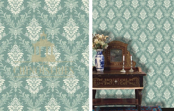 1:12 Dollhouse Miniature Wallpaper, Lucrative, Scale One Inch