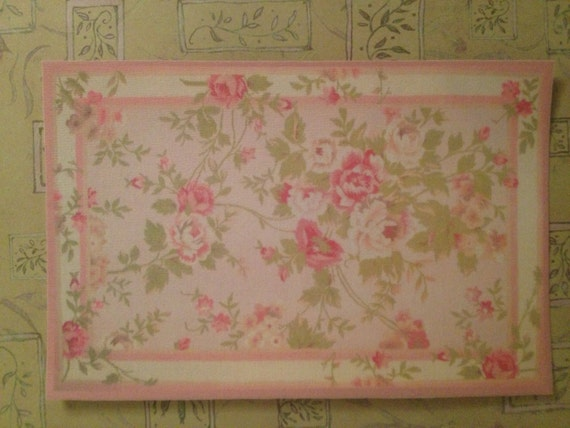 Dollhouse Miniature Romantic Shabby Chic Pink Floral Rug, Amanda, Scale One Inch
