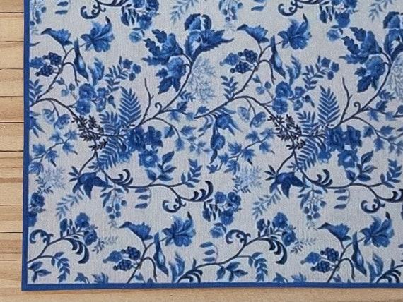 1:24 Dollhouse Miniature Floor Cloth, Blue Mist, Half scale