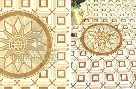 Dollhouse Miniature Flooring Paper, Faux Parquet, Chantilly Medallion, 1:12 scale