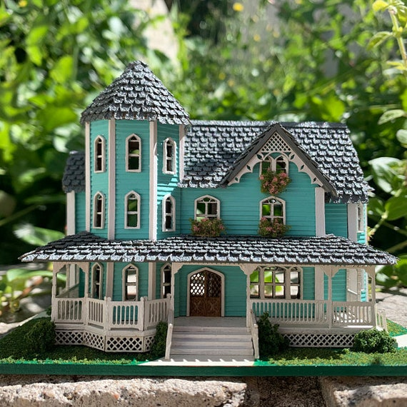 1:48 Wooden Dollhouse Kit, Gorgeous Victorian Wooden Dollhouse Kit, Quarter Inch Scale, SHIPS WORLDWIDE