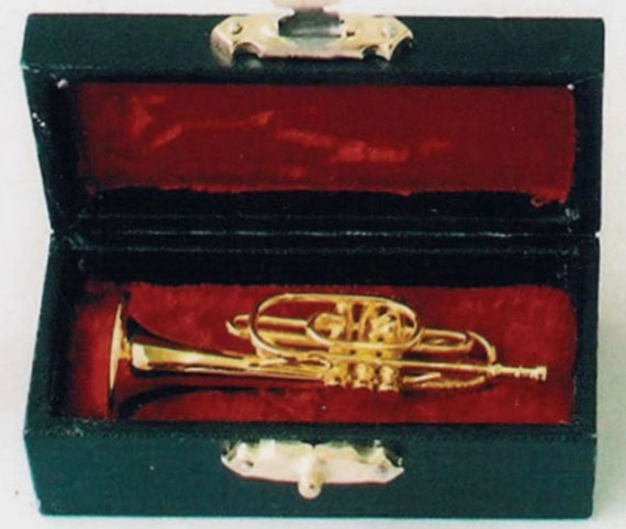 Dollhouse Miniature Cornet in Hard Black Case with Red Velvet Lining, 1:12 scale