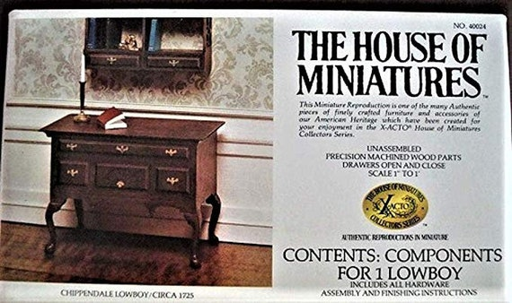 Dollhouse Miniature Furniture Kit, House of Miniatures, Chippendale Lowboy, 1:12 Scale