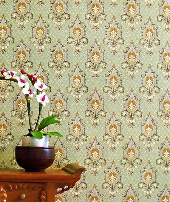 Dollhouse Miniature Wallpaper, Olive, Scale One Inch