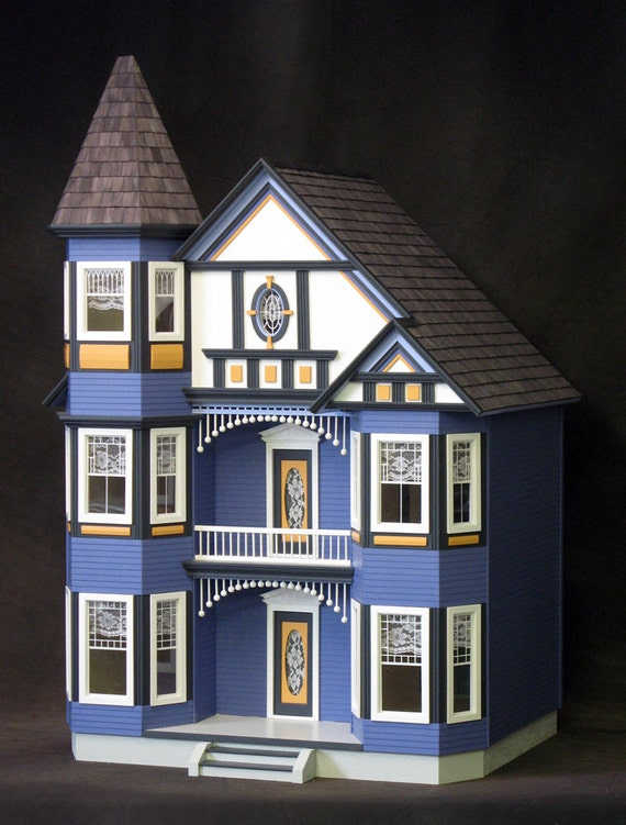 Genevieve, The Great Painted Lady Victorian Wooden Dollhouse Kit, Treasury List, Scale One Inch