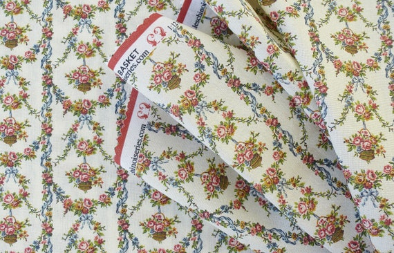 Dollhouse Miniature Fabric, Panier de Fleurs, Scale One Inch
