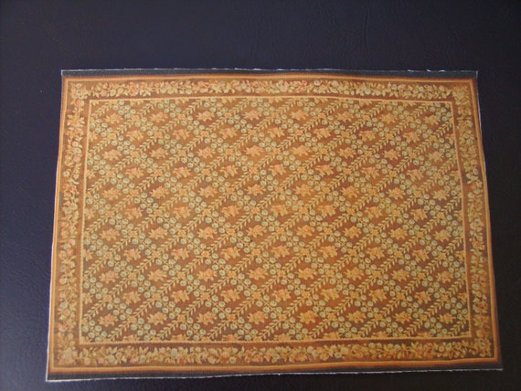 Dollhouse Miniature Rug, Antique Replica Geometric Floral, One inch Scale
