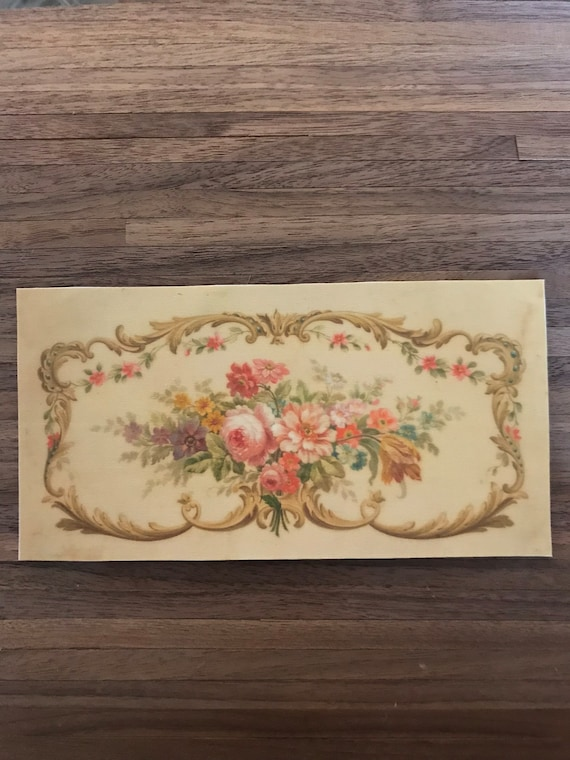 "Miniature Rose Garden Dollhouse Miniature Aubusson Rug ""The Language of Flowers"", Scale One Inch"