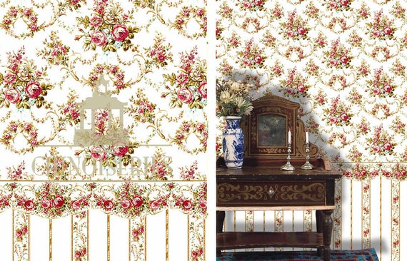 Dollhouse Miniature Wallpaper, Amelia, Scale One Inch