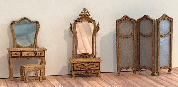 Quarter Scale Dollhouse Miniature Furniture KIT, Victorian Dressing Room Furniture,1:48 scale