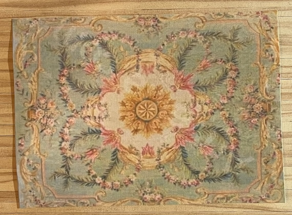 Dollhouse Miniature Romantic Shabby Chic French Aubusson Rug, Parisienne, 1:12 Scale