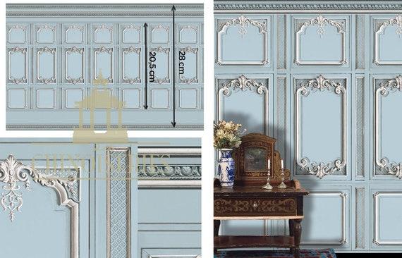 1:12 Dollhouse Miniature Wallpaper, Versailles Blue, Scale One Inch
