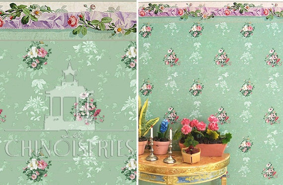 Dollhouse Miniature Wallpaper, Violette, Scale One Inch