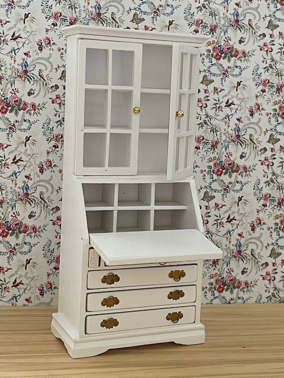 Dollhouse Miniature Furniture, White Secretary Desk, 1:12 scale