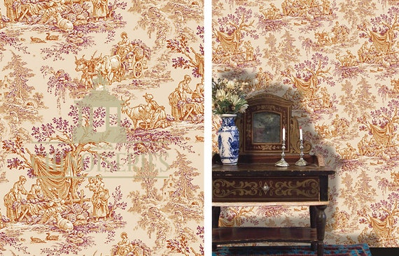 Dollhouse Miniature Wallpaper, French Pastoral, Scale One Inch