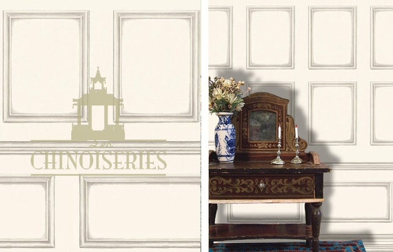 Dollhouse Miniature Wallpaper, Boiserie Blanche, Scale One Inch