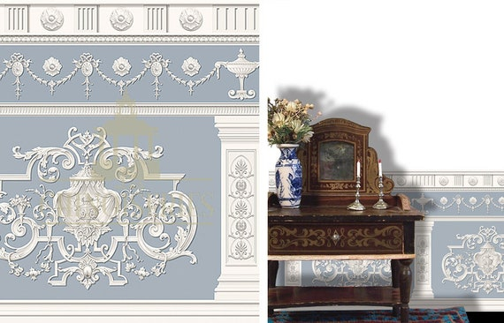 Dollhouse Miniature Wallpaper, Elysee, Scale One Inch