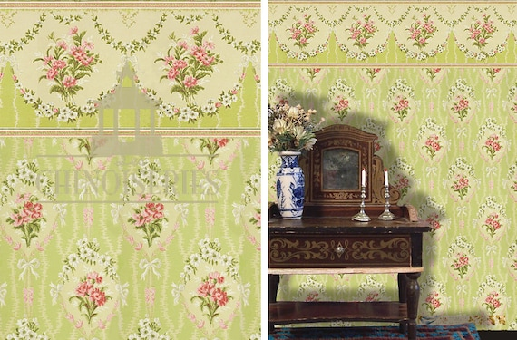 Dollhouse Miniature Wallpaper, Charlotte, Scale One Inch