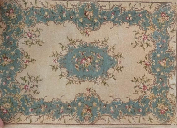 1:12 Dollhouse Miniature Beautiful Room Size Antique French Aubusson Rug, Frances