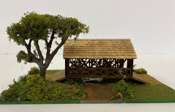 1:144 Micro Mini Wooden Scale Model KIT, Covered Bridge, 1/144 scale