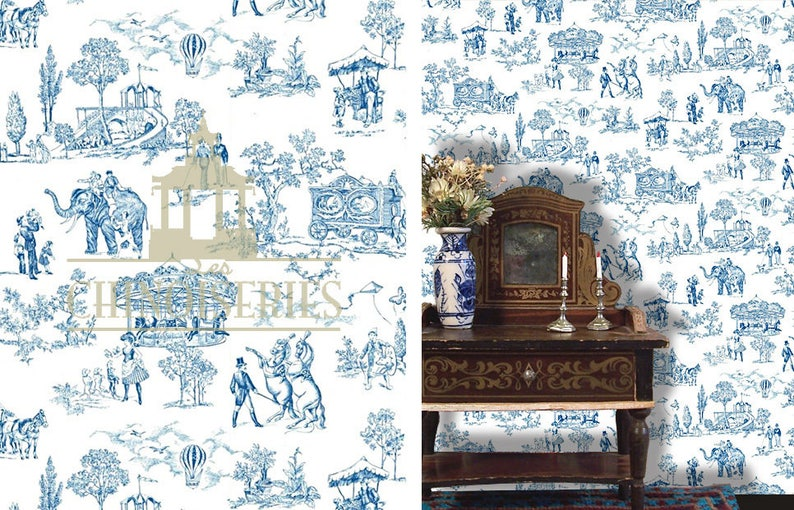 Dollhouse Miniature Wallpaper Good Fortune Scale One Inch image 0