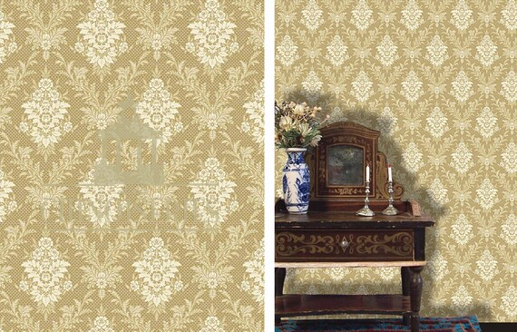 1:12 Dollhouse Miniature Wallpaper, L'Or, Scale One Inch