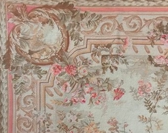 Dollhouse Miniature Romantic Shabby Chic Room size French Aubusson Rug, Venus, 1:12 Scale