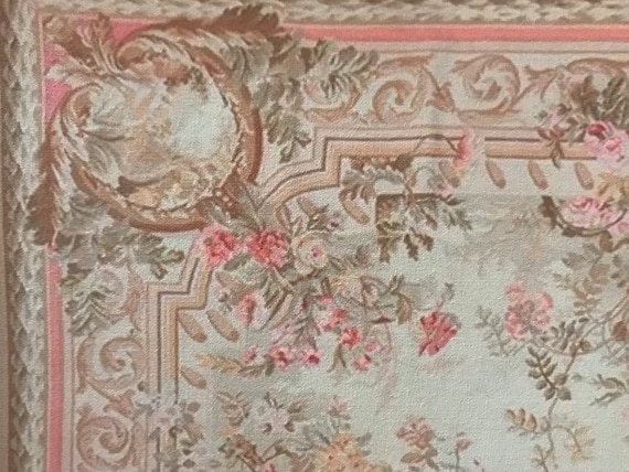 Dollhouse Miniature Romantic Shabby Chic French Aubusson Rug, Venus, 1:12 Scale