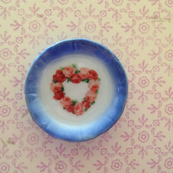 "Dollhouse Miniature ""My Love"" Porcelain Plate, Scale One Inch"